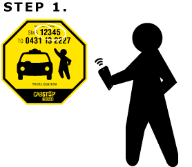Step1: S M S the CABSTOP code on the sign at your location to 0 4 3 1 1 3 2 2 2 7.